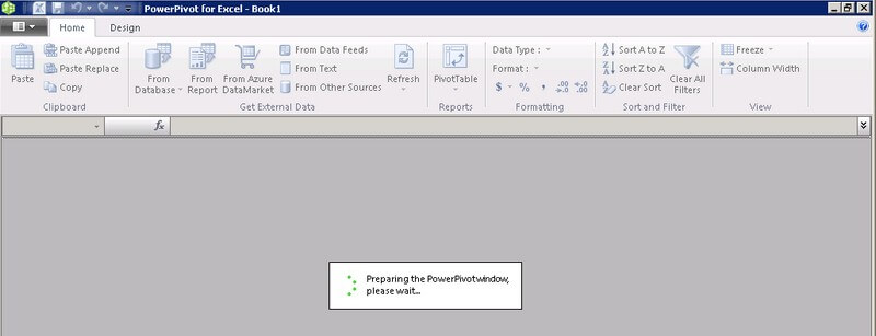 powerpivot workbook opens as a process withen the excel workbook