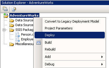 deploy the ssis project to the integration services catalog