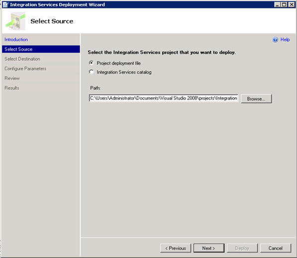 deploy from the ssis project