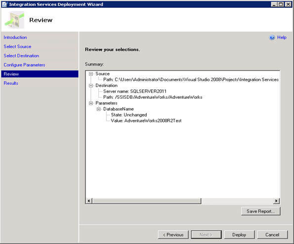review selections and deploy ssis project
