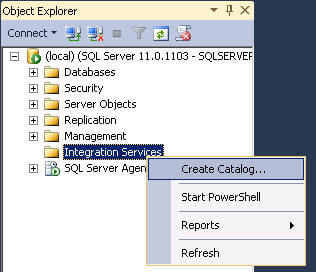 create an integration srvices catalog on the sql server