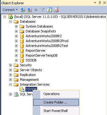under integration services node in ssms click create folder