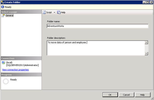 create a folder for you ssis project