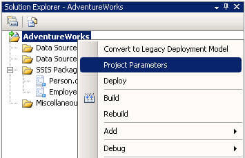 ssis project parameters