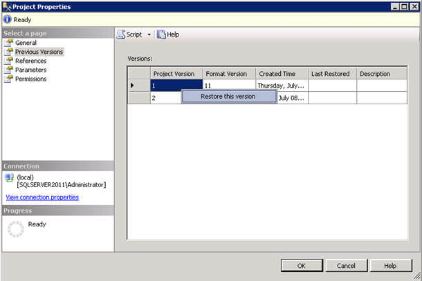 analyzing deployed ssis project versions and restoring