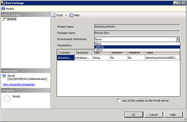 select the enviroment  you want the ssis package to be executed for