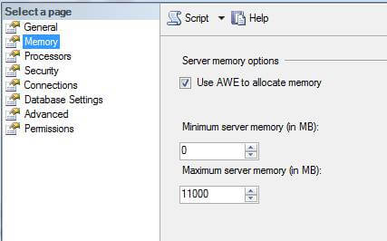 check the memory tab after installing sql server