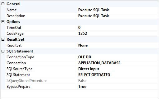 add an execute sql task and configure it