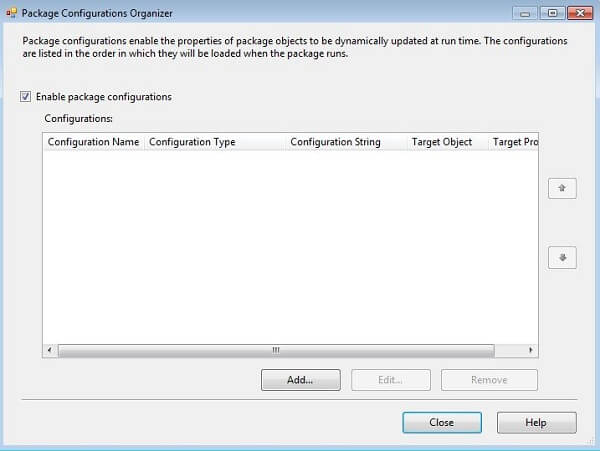 in the ssis control flow area select package configuration