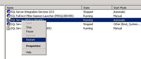 restart sql server services