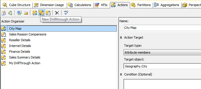 SSAS actions tab