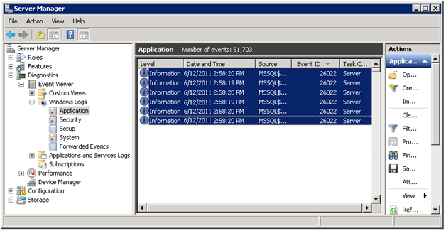 window event viewer sql server port number