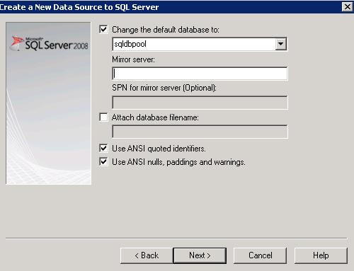 create new sql server data source