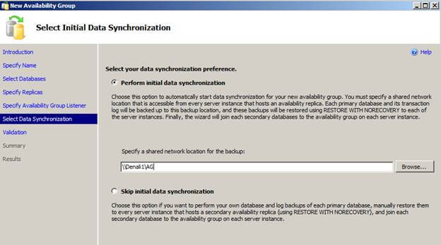 select initial data synchronization
