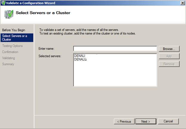 cluster configuration wizard