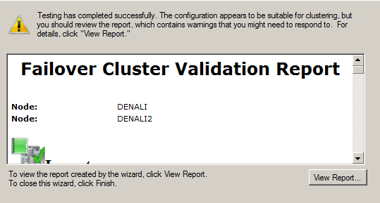 cluster validation report