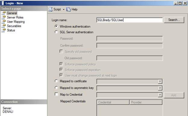 sql server logins creation