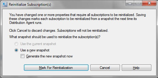 reinitialize subscriptions