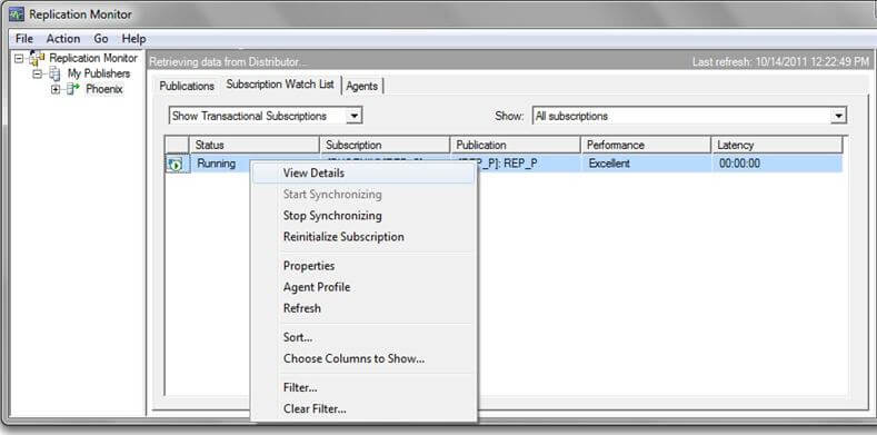 sql server replication monitor