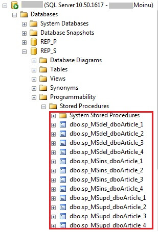 sql replication stored procedures