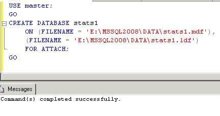 sql server create database for attach command