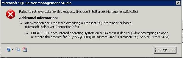 sql server attach database error 5123