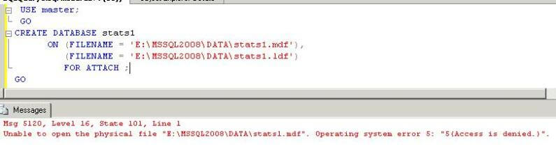 sql server create database with attach command