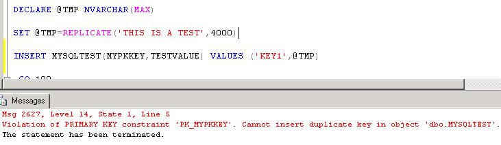 sql primary key failure