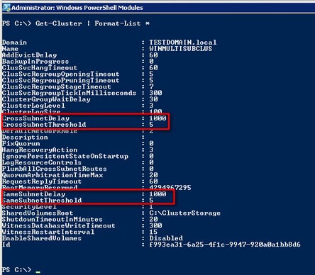 PowerShell code and output for the delay and threshold