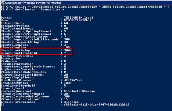 PowerShell code for CrossSubnetDelay and CrossSubnetThreshold for the cluster