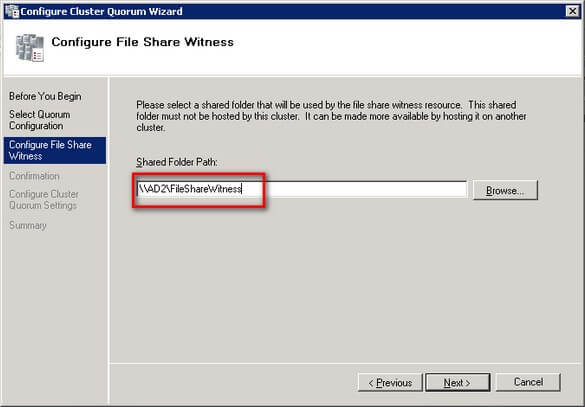 Configure File Share Witness dialog box