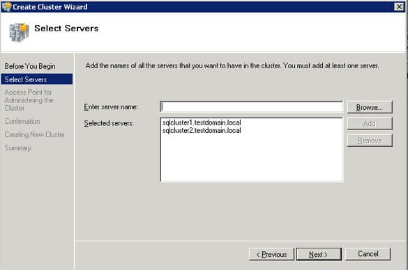 Select Servers dialog box of the Create Cluster Wizard