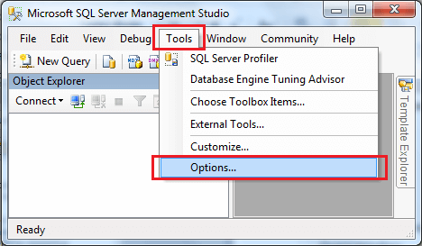Tools and Options menu in SQL Server Management Studio