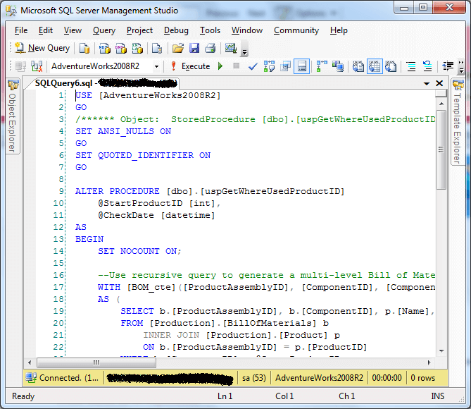 Display Line Numbers in a SQL Server Management Studio Query Window