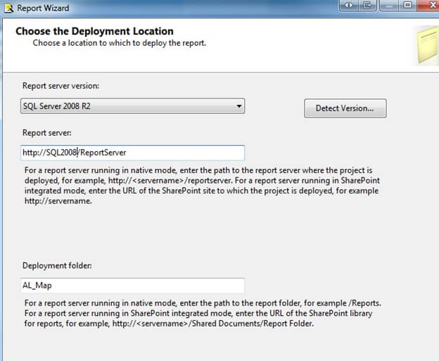 choosing a deployment location for a ssrs project