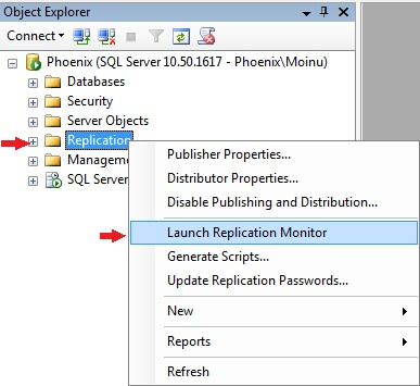 sql server launch replication monitor