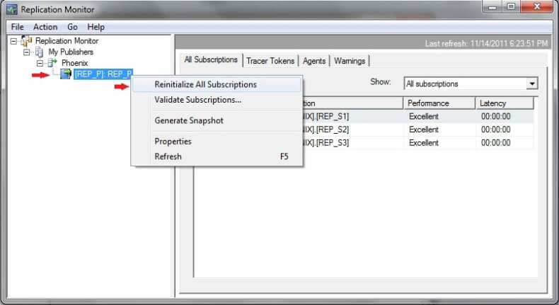 sql replication monitor reinitialize all subscription