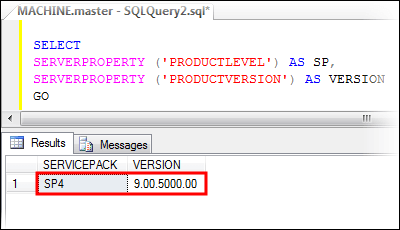 Get SQL Server version using SERVERPROPERTY system function