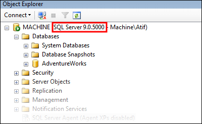 Get SQLServer Version by using SSMS Object Explorer