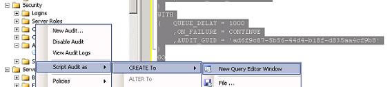 script out audit definition using SSMS