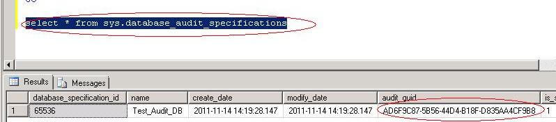 select SQL Server audit guid from system tables
