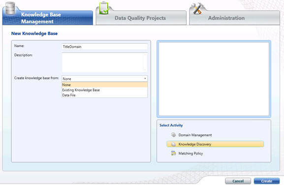 "connect to Data Quality Client tool and click on ""New Knowledge base"" i"