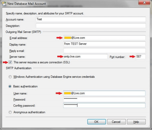 Configuring SQL Server Database Mail to use Hotmail