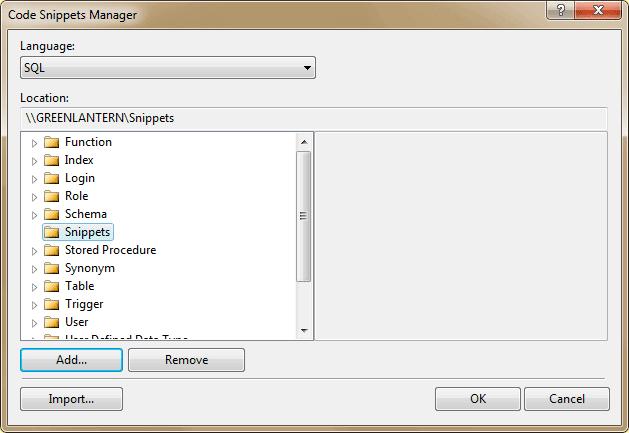 sql server code snippets manager