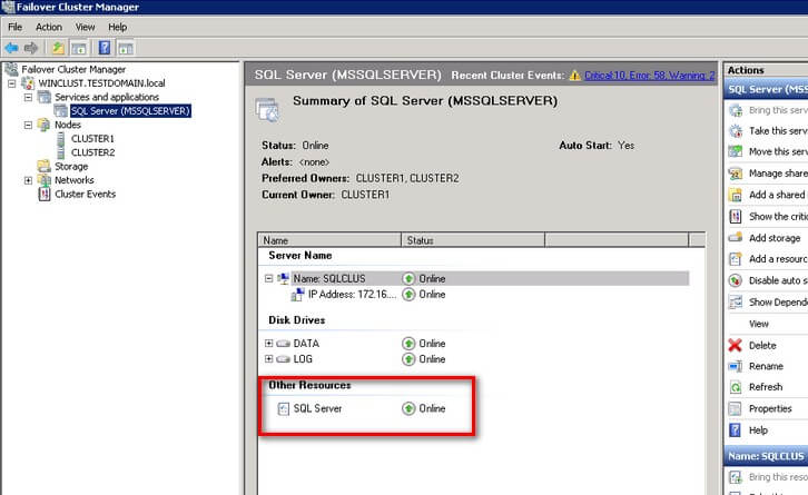 failover cluster sql server other resources