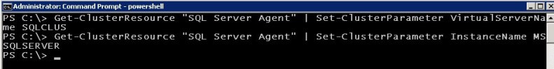 powershell Set the private properties of the SQL Server Agent resource.