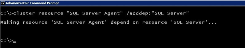 cluster.exe Add the SQL Server resource as a dependency for the SQL Server Agent resource you just created