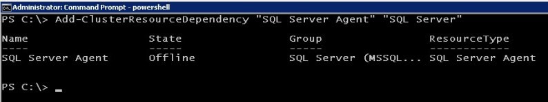 powershell Add the SQL Server resource as a dependency for the SQL Server Agent resource you just created