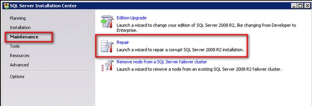 Run a Repair of the SQL Server 2008 R2 installation