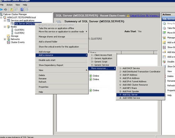 add a sql server resource to a cluster